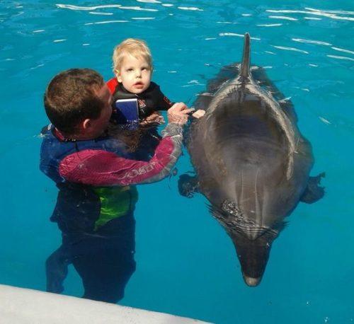 Davídek na delfinoterapii